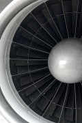 a jet aircraft engine and its turbofan blades