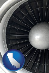 california map icon and a jet aircraft engine and its turbofan blades