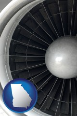 georgia map icon and a jet aircraft engine and its turbofan blades