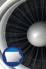 iowa map icon and a jet aircraft engine and its turbofan blades
