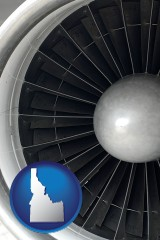 idaho map icon and a jet aircraft engine and its turbofan blades
