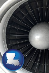 louisiana map icon and a jet aircraft engine and its turbofan blades