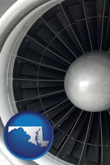 maryland map icon and a jet aircraft engine and its turbofan blades