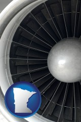 minnesota map icon and a jet aircraft engine and its turbofan blades
