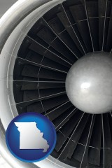 missouri map icon and a jet aircraft engine and its turbofan blades