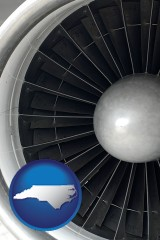 north-carolina map icon and a jet aircraft engine and its turbofan blades