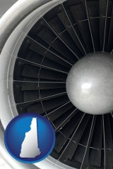 new-hampshire a jet aircraft engine and its turbofan blades