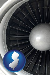 new-jersey map icon and a jet aircraft engine and its turbofan blades