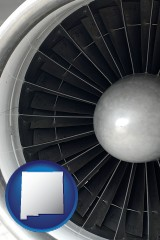 new-mexico a jet aircraft engine and its turbofan blades