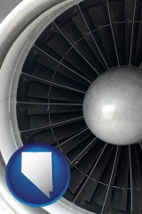 nevada map icon and a jet aircraft engine and its turbofan blades