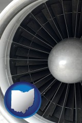 ohio map icon and a jet aircraft engine and its turbofan blades