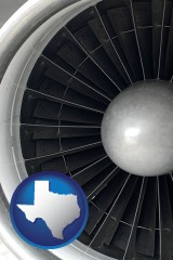texas map icon and a jet aircraft engine and its turbofan blades