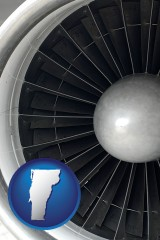 vermont map icon and a jet aircraft engine and its turbofan blades