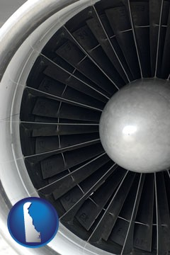 a jet aircraft engine and its turbofan blades - with Delaware icon
