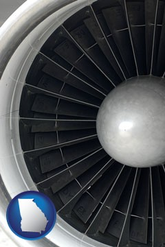 a jet aircraft engine and its turbofan blades - with Georgia icon
