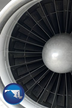 a jet aircraft engine and its turbofan blades - with Maryland icon