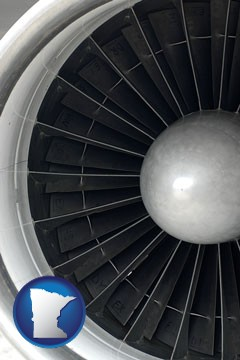 a jet aircraft engine and its turbofan blades - with Minnesota icon