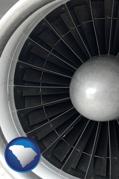 a jet aircraft engine and its turbofan blades - with South Carolina icon
