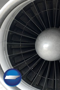 a jet aircraft engine and its turbofan blades - with Tennessee icon