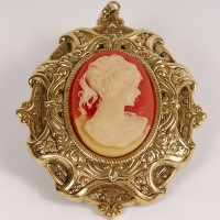 antique jewelry - cameo with lady's face