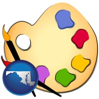 md map icon and art supplies, consisting of brushes, paint, and a palette