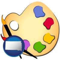 sd map icon and art supplies, consisting of brushes, paint, and a palette