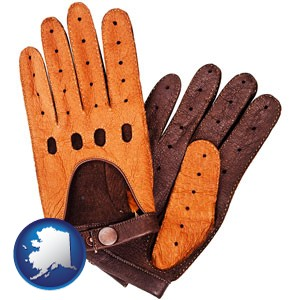 brown leather driving gloves - with Alaska icon