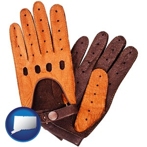 brown leather driving gloves - with Connecticut icon