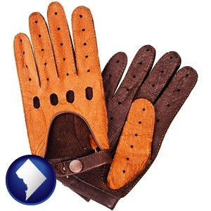 brown leather driving gloves - with Washington, DC icon