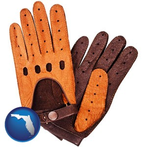 brown leather driving gloves - with Florida icon