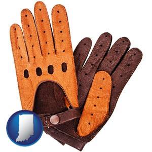 brown leather driving gloves - with Indiana icon