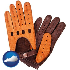 brown leather driving gloves - with Kentucky icon