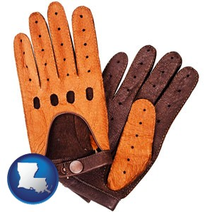 brown leather driving gloves - with Louisiana icon