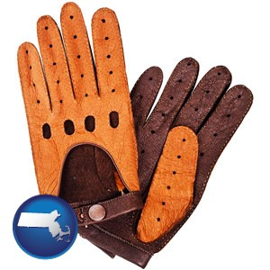 brown leather driving gloves - with Massachusetts icon