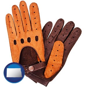 brown leather driving gloves - with North Dakota icon