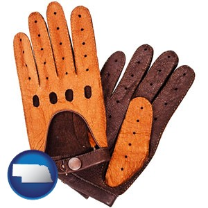 brown leather driving gloves - with Nebraska icon