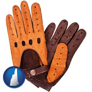 brown leather driving gloves - with New Hampshire icon