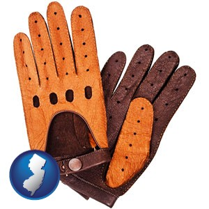brown leather driving gloves - with New Jersey icon