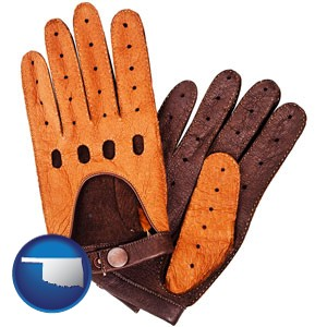 brown leather driving gloves - with Oklahoma icon