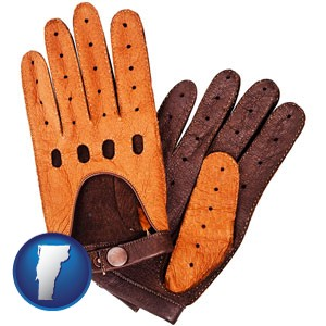 brown leather driving gloves - with Vermont icon