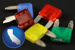 california map icon and colorful automobile fuses