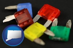 connecticut map icon and colorful automobile fuses