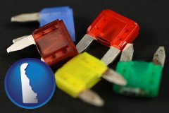 delaware map icon and colorful automobile fuses