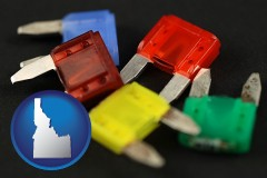 idaho map icon and colorful automobile fuses
