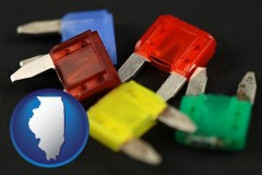 illinois map icon and colorful automobile fuses