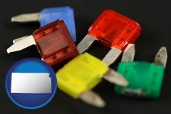 kansas map icon and colorful automobile fuses