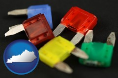 kentucky map icon and colorful automobile fuses