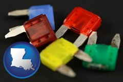 louisiana map icon and colorful automobile fuses