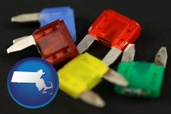 massachusetts map icon and colorful automobile fuses