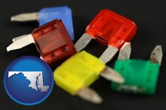 maryland map icon and colorful automobile fuses